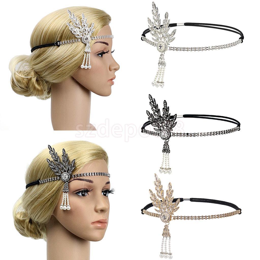 Vintage Crystal Rhinestone Woman Ladies Headband Hairband 1920s Great Gatsby Fascinator Headpieces Hair Accessories