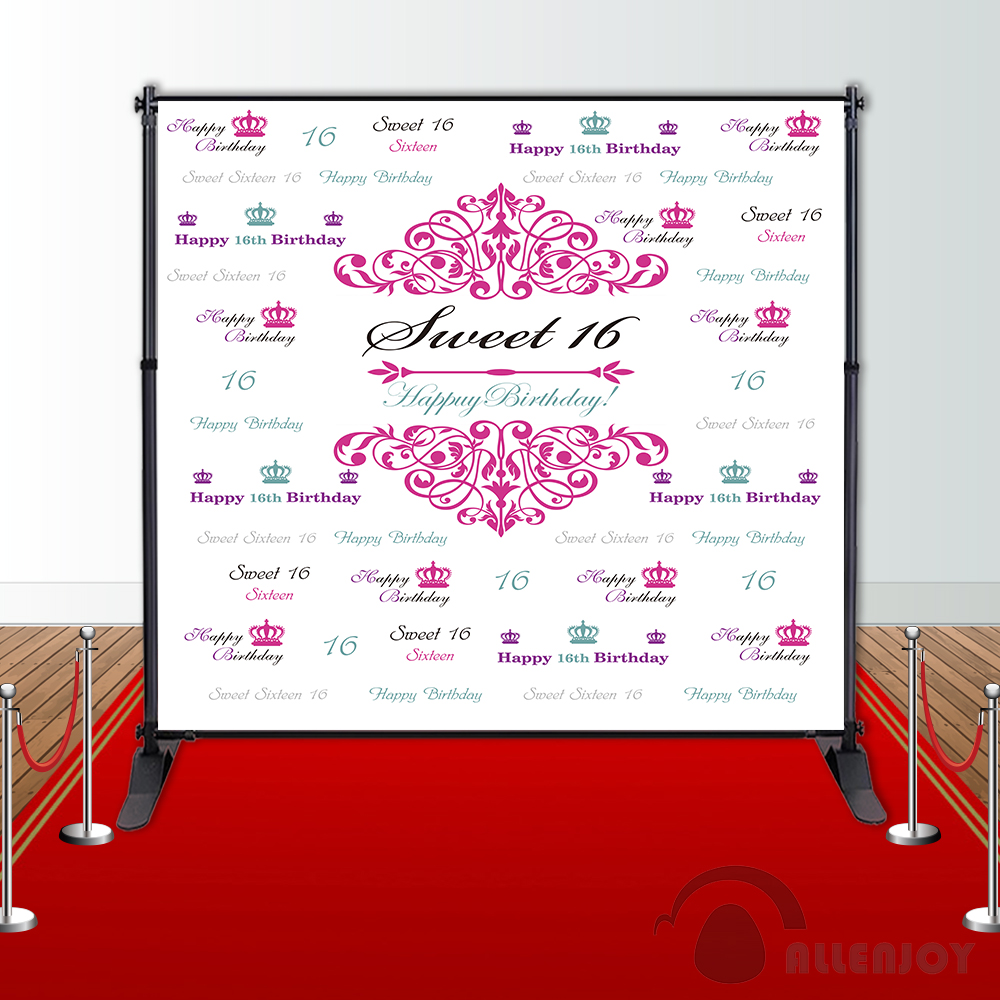 Allenjoy Girls Birthday backdrops Step and Repeat Background Pink princess party banner Invitation celebration Party customize allenjoy backdrops baby shower background pink stripe rose gold circle birthday invitation celebration party customize
