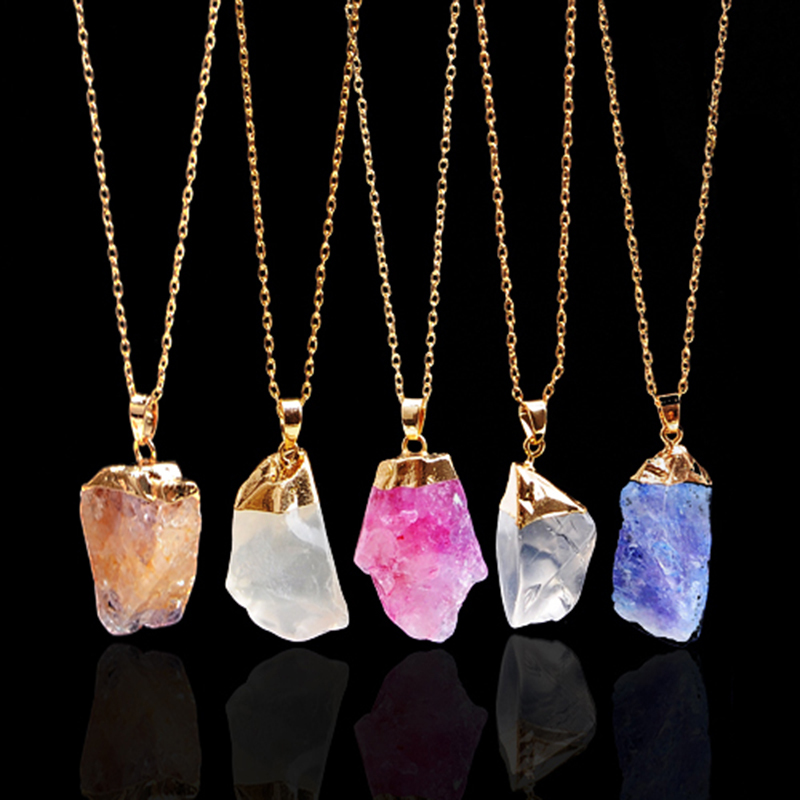 Hot Sale Rough Natural Stone Necklaces Irregular Shape