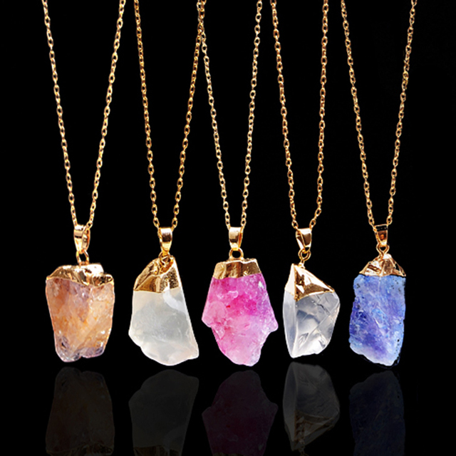 necklace natural pink stone collections colorfulcomments products crystal jewelry