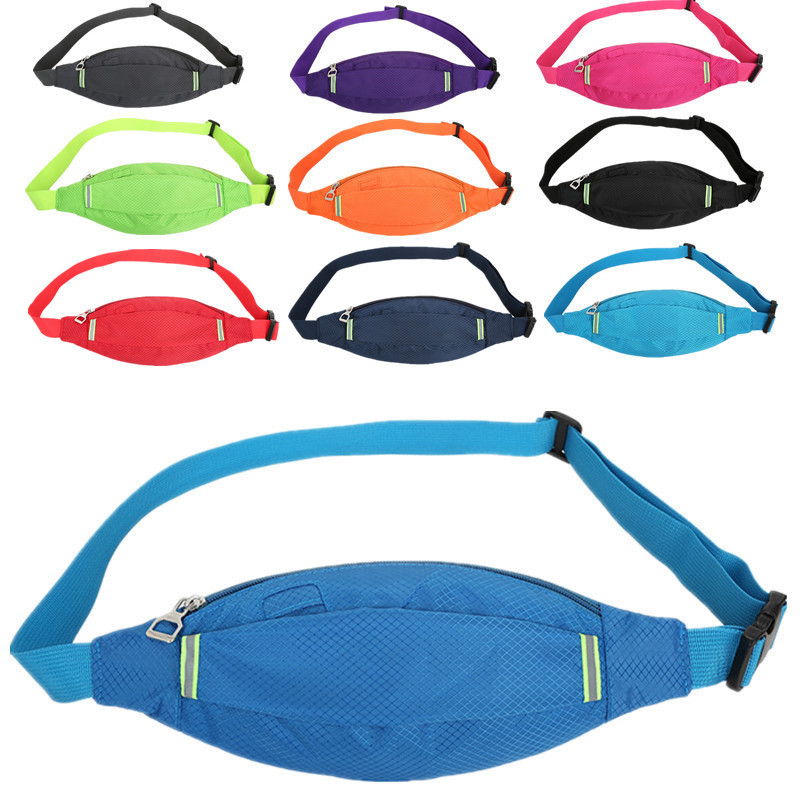 Galleria fotografica 2019 New Fashion Waterproof Nylon Unisex Women Fanny Pack Men Waist Bags Reflective Travel Bum Belt Bag Zipper Money Phone Pouch