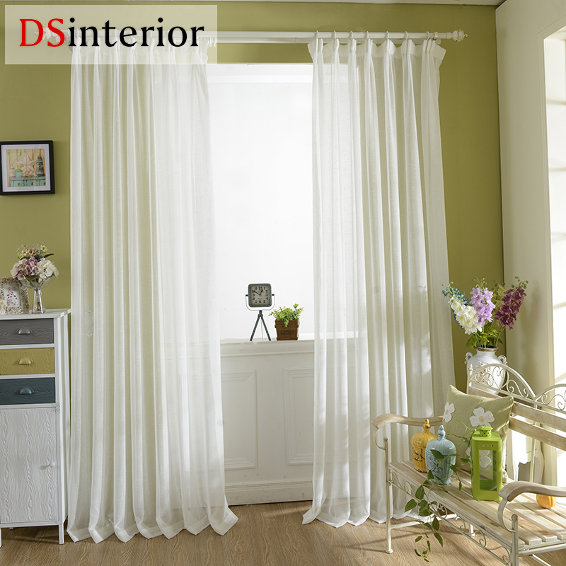 DSinterior Finished solid pure white voile panel sheer for - Home Textile