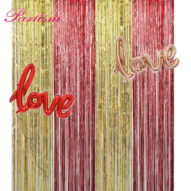 1PC 1x2Meters Gold Foil Fringe Tinsel Curtain Photo Background For Wedding Festival Home Party Wall Decoration