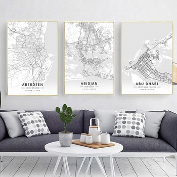Mapa de ciudades del mundo, Aberdeen, Reino Unido, Abidján, marfil, Coas, Abu...