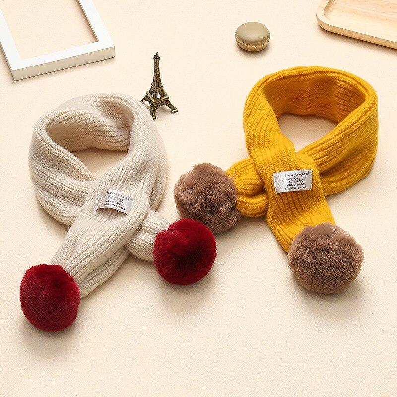 Детские шарфы шарф зима для мальчиков и девочек детские мягкие теплые связан из шерсти шарф с двойным меха мяч для ребенка