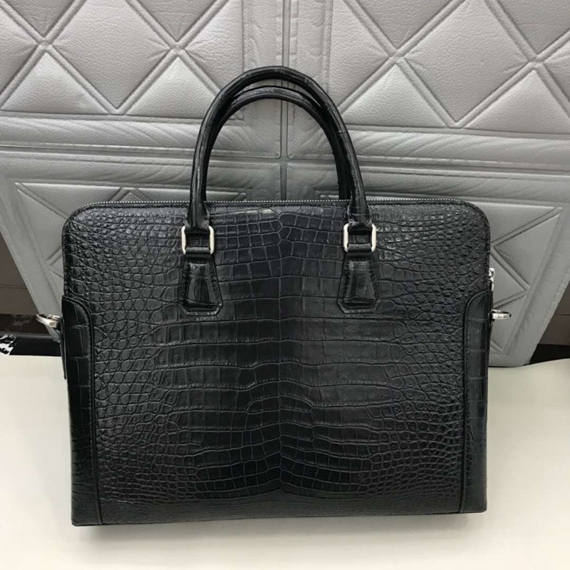 Purse Briefcase Handbag Crocodile Top-Handle Businessmen Genuine Male Zipper Closure