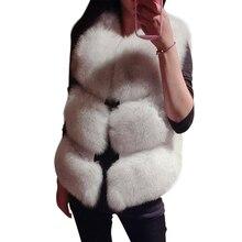 Женский Мех животных жилет новый зимний Для женщин толстый теплый искусственный Лисий жилет высокое качество модные короткие Мех животных пальто женские пиджаки Colete feminino