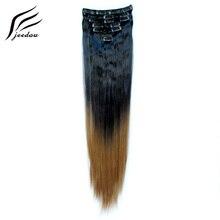 """Jeedou заколки для наращивания волос прямые 2"""" 100 г Черный Коричневый Серый цвет накладные волосы для укладки синтетический фортепиано Омбре цветная прядь"""