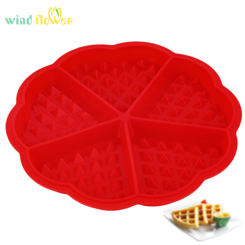 Wind Flower Heart Shape Silicone 5-Cavity Waffle Mold Microwave Baking Cookie Cake Muffin Bakeware Cooking Tools Kitchen Accesso