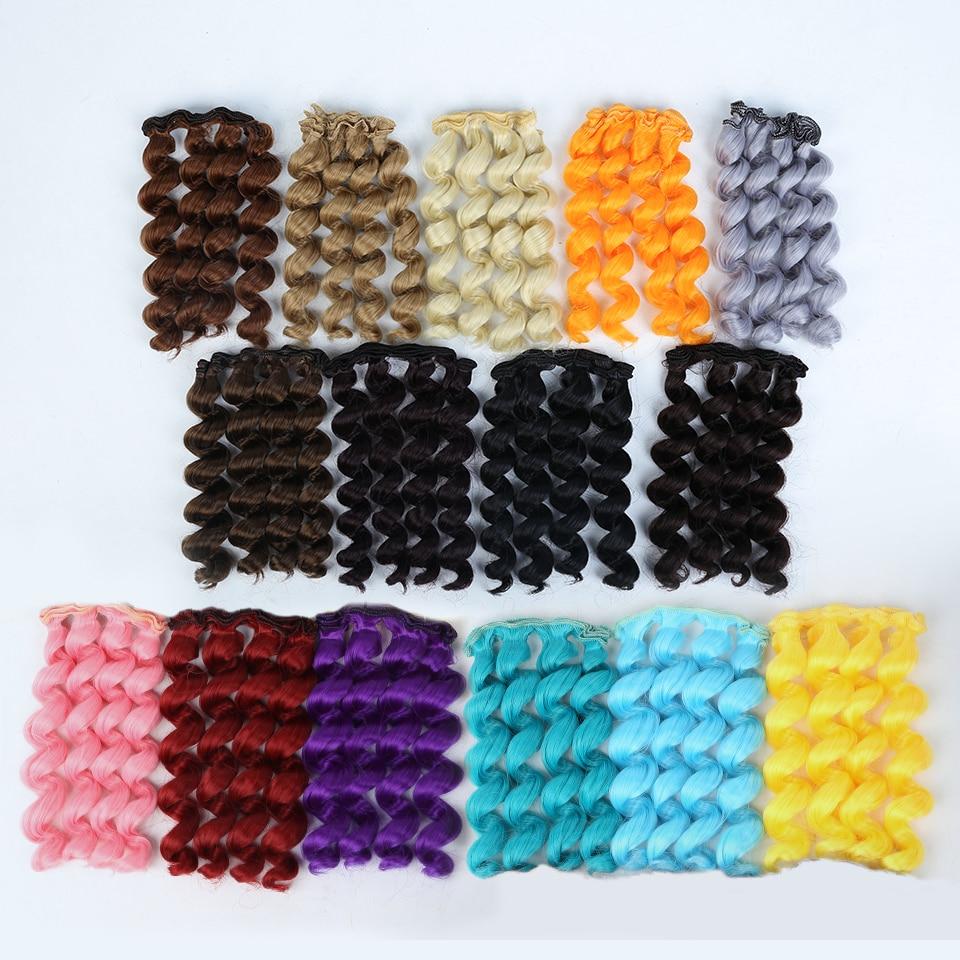Allaosify 15 см * 100 см Парики Для шарнирной куклы черного, золотого, коричневого цвета Серебро Цвет короткие вьющиеся волосы для 1/3 1/4 1/6 куклы DIY