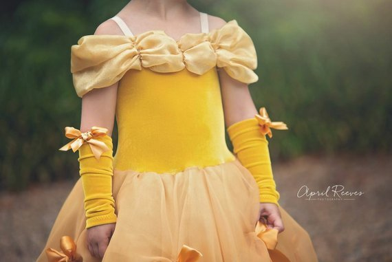 Baby Girls Beauty and the Beast Costume Tulle Kids Princess Belle Party Gown Halloween Birthday Dress Clothes Summer Frock 5