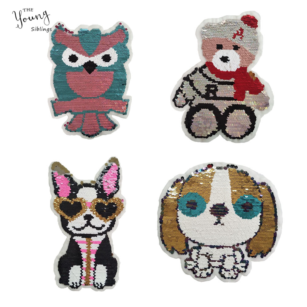 New Cartoon Sequins Animal Sewing Clothes Patch Iron On Embroidery Patches Hotfix Applique Motifs Sew On Garment Dog Stickers