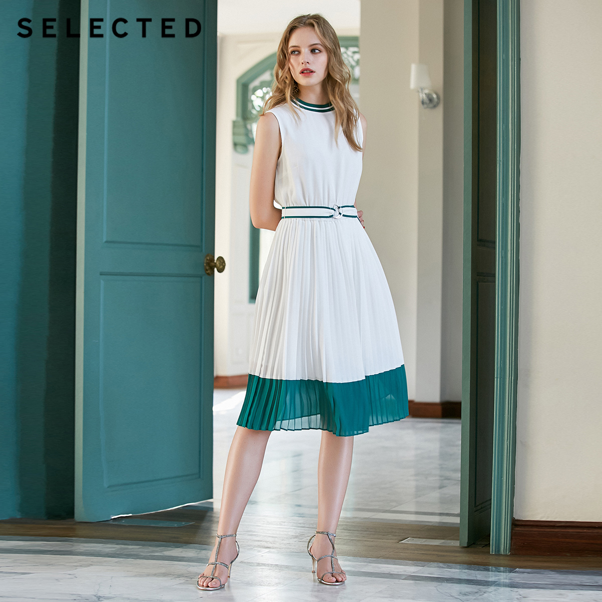 SELECTED Summer Slim Fit Sleeveless Pleated Midi Dress S41922J536-in Dresses from Women's Clothing    1
