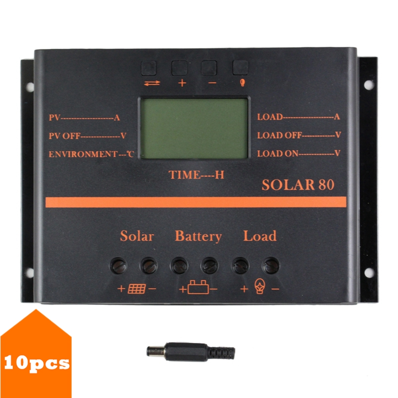 10PCS/LOT Wholesale  80A Solar Controller 5V USB for 12V 24V PV Panel Battery Charge Controller Solar System Home Indoor Use S80