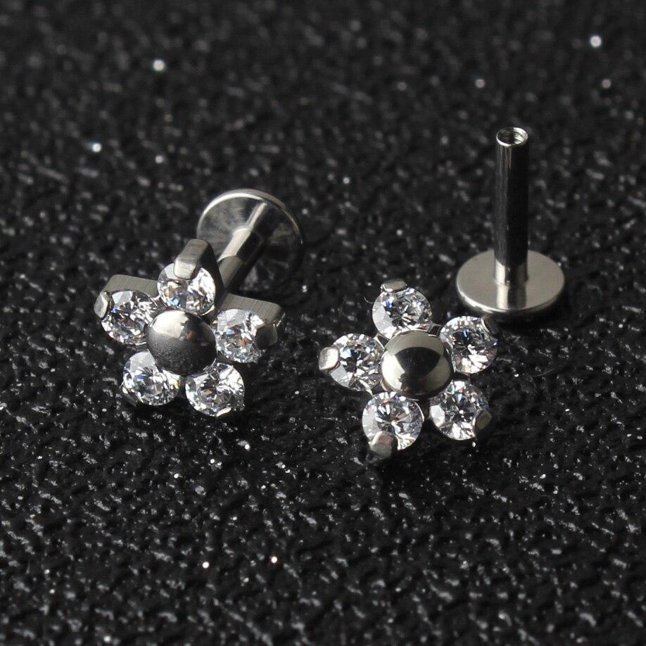 5 Crystal Petals Flower 16G Titanium G23 Internally Threaded Labret Lip Piercing Ear Cartilage Helix Tragus