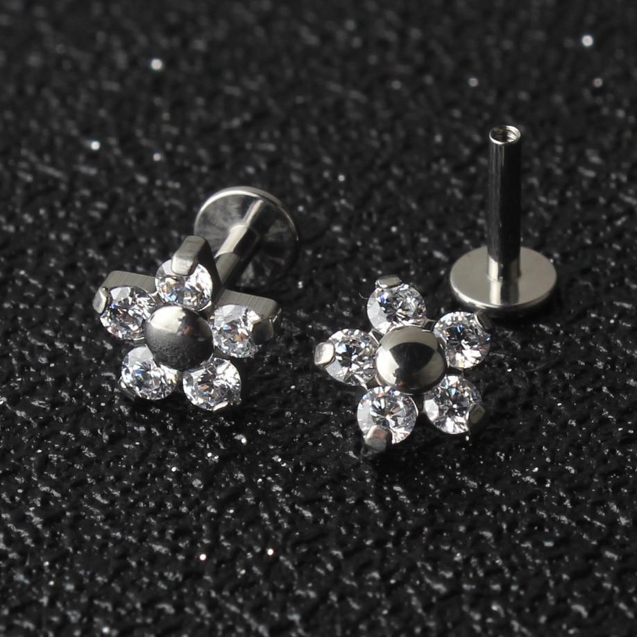 5 الكريستال بتلات زهرة 16G التيتانيوم G23 داخليا الخيوط Labret شفة ثقب الأذن الغضروف هيليكس الزنمة مربط مجوهرات للجسم-في مجوهرات الجسم من الإكسسوارات والجواهر على  مجموعة 1