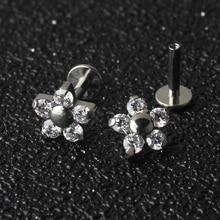 5 الكريستال بتلات زهرة 16G التيتانيوم G23 داخليا الخيوط Labret شفة ثقب الأذن الغضروف هيليكس الزنمة مربط مجوهرات للجسم