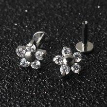 5 Crystal Petals Flower 16G Titanium G23  Internally Threaded Labret Lip Piercing Ear Cartilage Helix Tragus Stud Body Jewelry