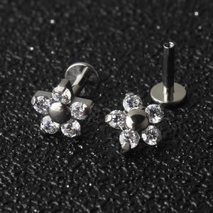 Image 1 - 5 Crystal Petals Flower 16G Titanium G23  Internally Threaded Labret Lip Piercing Ear Cartilage Helix Tragus Stud Body Jewelry