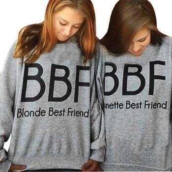 bts 2016 Women Hoodies Brunette Best Friends BFF Blonde Best Friend Print Harajuku Girlfriends Sweatshirt Women Pullovers monochrome