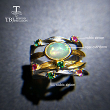 TBJ,new design 100% natural ethopian opal  ov6*8 gemstone ring in 925 sterling silver fine jewelry for women wife gift tbj feather gemstone ring with natural ethopian opal good fire in 925 sterling silver fine jewelry for girls with jewelry box