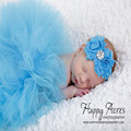 Tocado de flores + Tutu ropa falda del bebé recién nacido niñas apoyo de la foto trajes vestido Del Bebé accesorios de Fotografía prop traje de tela de regalo