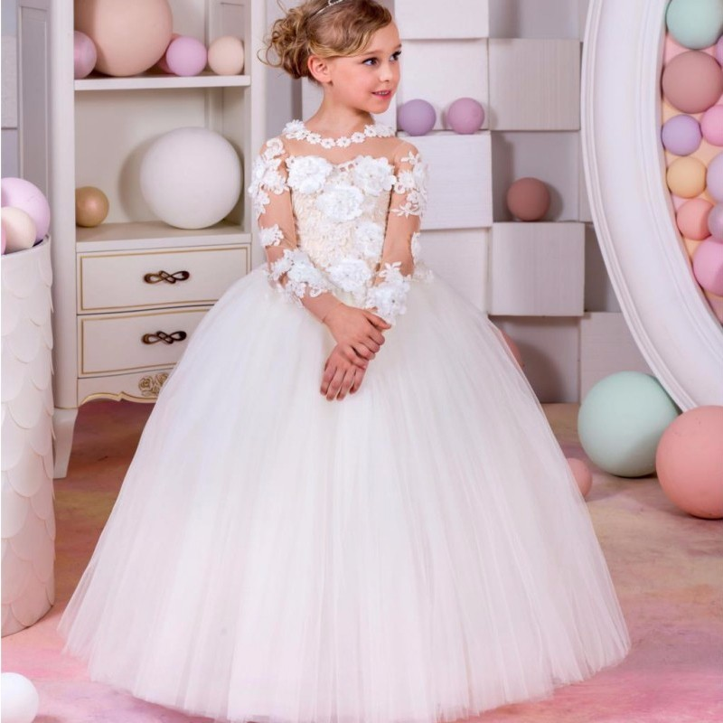 Ivory White Lace Flower Girls Dresses Ball Gown Long Sleeve Girls First Communion Dress Princess Dress 2-16 Old 2018 white lace girls first communion dress ball gown birthday dress half sleeve long princess flower girls dresses for wedding