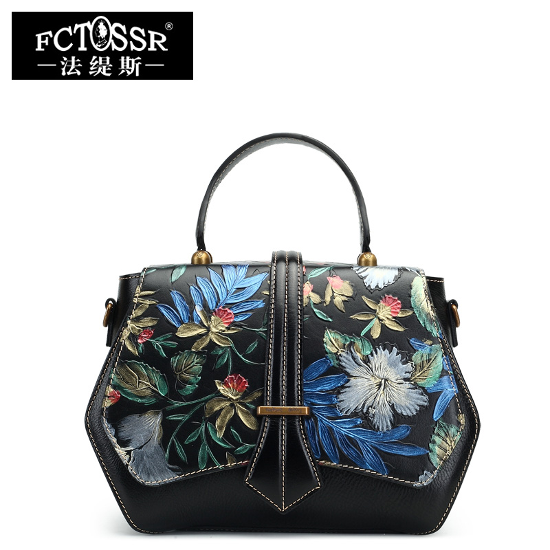Fashion Painting Flower Women Handbag Hand Painted Genuine Leather Shoulder Female Sling Bags Top-handle Lady Messenger Bag fashion relief rose flower pattern handbag pu leather genuine leather zipper ring top handle bag lady party shoulder bags gifts