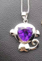 natural amethyst pendant S925 Sterling silver Natural gemstone Pendant Necklace trendy lovely monkey women girl party jewelry