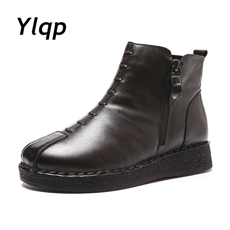 Ylqp 2019 Winter Vintage Style Genuine Leather Women Boots Flat Booties Soft Cowhide Women's Shoes Zip Ankle Boots Zapatos Mujer