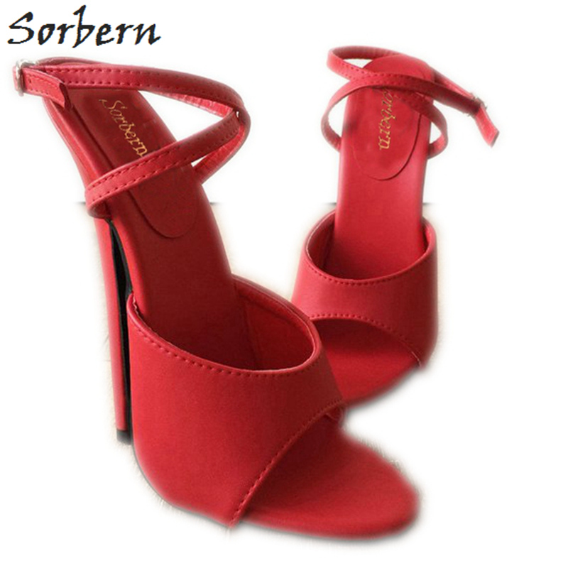 Sorbern Matte Red Ankle Strap Slingback Open Toe High Heels Ladies Sandals 18Cm Heeled Ankle Strap Heels Stiletto Sandals Summer new usa 2a standard thread ring gage gauge set 1 4 20 tpi
