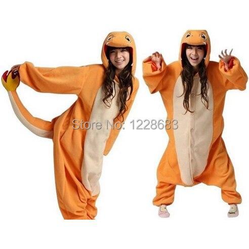 Anime Onesie Sleepwear kigurumi Pokemon Charmander Onesie Pajamas Animal Cosplay Costume Adult Pyjamas Party in Stock