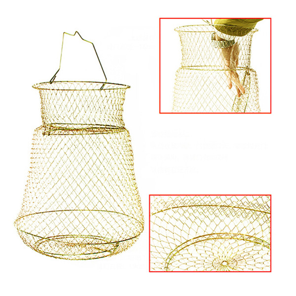 Hot Fish Lobster Collapsible Portable Mesh Fishing Net Crab Prawn Cage Foldable Metal Steel Wire ...
