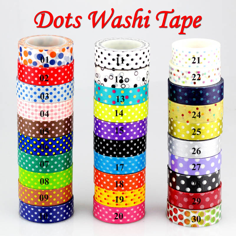 10M/Roll 30 Basic Collection Dots Japanese Washi Tape Christmas For Craft Scrapbooking Decorative Masking Tape Adhesive Tape