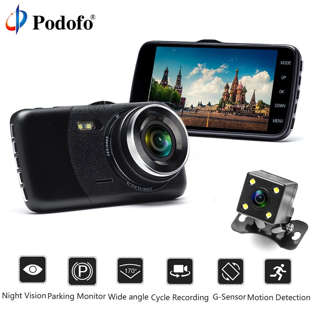 Podofo 4 IPS Screen Car DVR Camera Full HD 1080P Recorder Auto Video Registrator 170 Degree Dash Cam Night Vision G-Sensor DVR