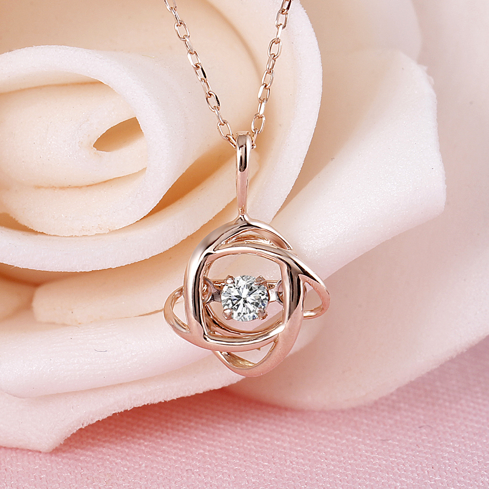 66be77738449 DovEggs Rose Gold Ladies Diamond Pendant Necklace 10K Rose Gold 0.1carat Diamond  Dancing Setting Link Chain Necklace For Women-in Necklaces from Jewelry ...