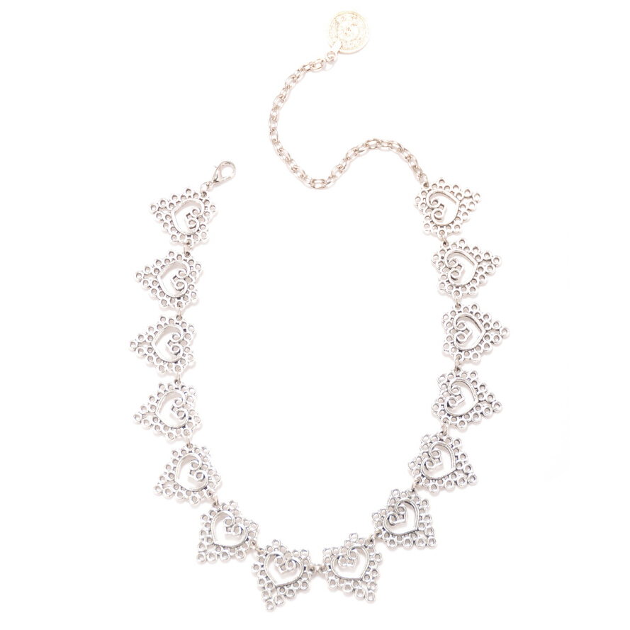 Fashion Bohemia Lace Carving Heart Necklace for Women Turkish Antique Silver Color Link Short Necklace Fine Jewelry