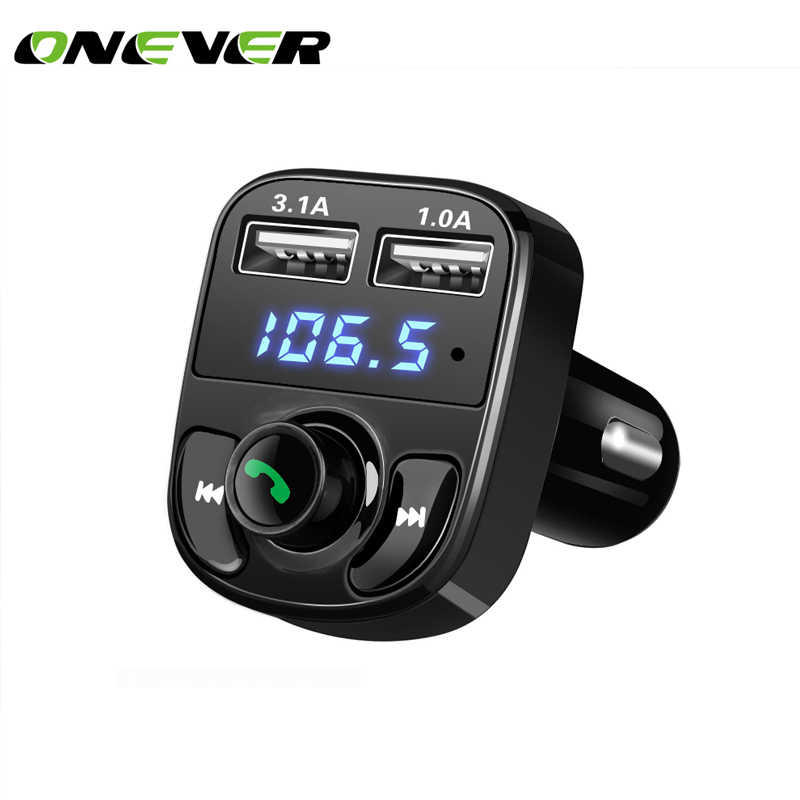Onever FM Transmitter Wireless Bluetooth Car Kit Handsfree MP3 Player LED Dual USB Quick Charger Voltage Display Micro SD TF