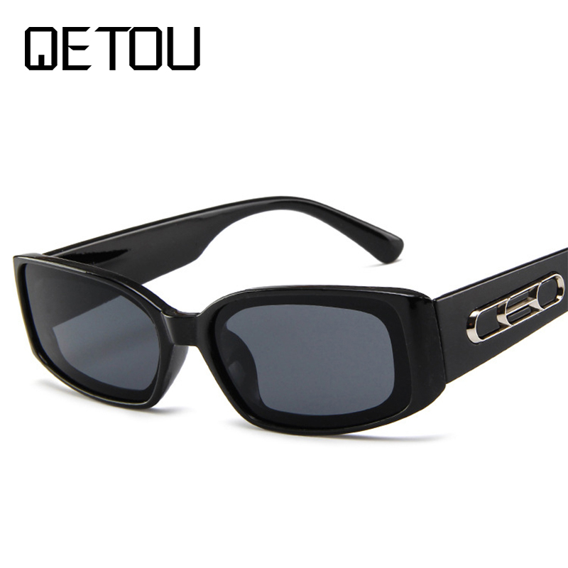 QETOU Trendy Small Orange Rectangular Sunglasses Women 2018 90s Retro Lady Tiny Square Rectangle Red Sun Glasses Shades