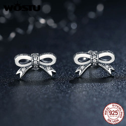 WOSTU Genuine 925 Sterling Silver Sparkling Bow Stud Earrings With Clear CZ For Women Luxury Fine Jewelry Gift FBS407