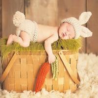 Newborn Photography Props Bunny Crochet Knitting Costume Set Rabbit Hats And Diaper Beanies And Pants Baby