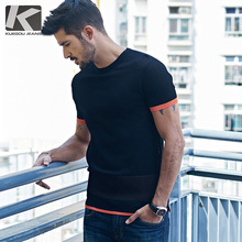 KUEGOU New Summer Mens Knitting T-Shirts Patchwork Black Brand Clothing Man's Short Sleeve Slim Knitted T Shirts Male Tops 1071