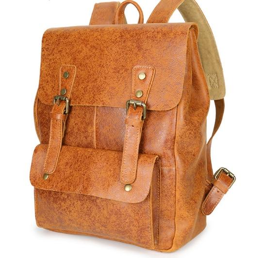 New Vintage Preppy Style Genuine Leather Male Backpacks Casual Shoulder Bag Fashion Laptop Bag Multifunctional Schoolbag C196 fashion denim backpack preppy style casual shoulders double shoulder bag schoolbag style blue x 59966