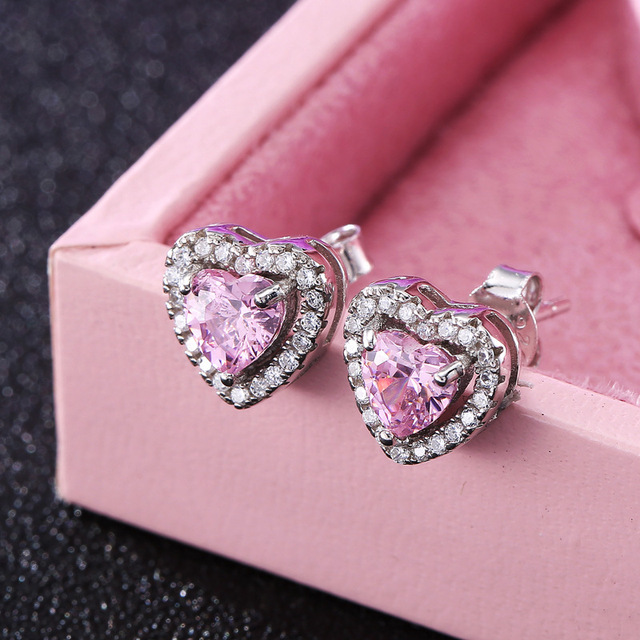 S925 silver earrings micro inlaid 10mm CZ diamond stud Earrings female heart-shaped Earrings for women wedding jewelry