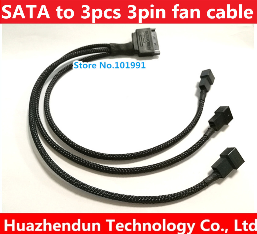 to 3Pin 4Pin PWM Male Female Adapter Cable,Black sleeved,CB-PWM-3F