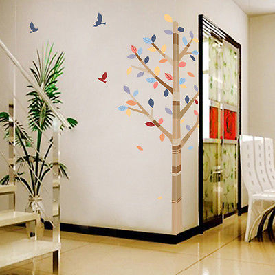Diy Colorful Trees Birds Handcraft Wall Sticker Decal Mural For Home