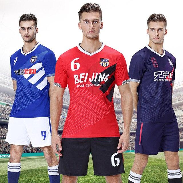 Jerseys de fútbol personalizado conjunto de uniforme de fútbol Jersey de fútbol 2019 equipo de entrenamiento ropa de hombre Deporte traje de árbitro Jersey de fútbol