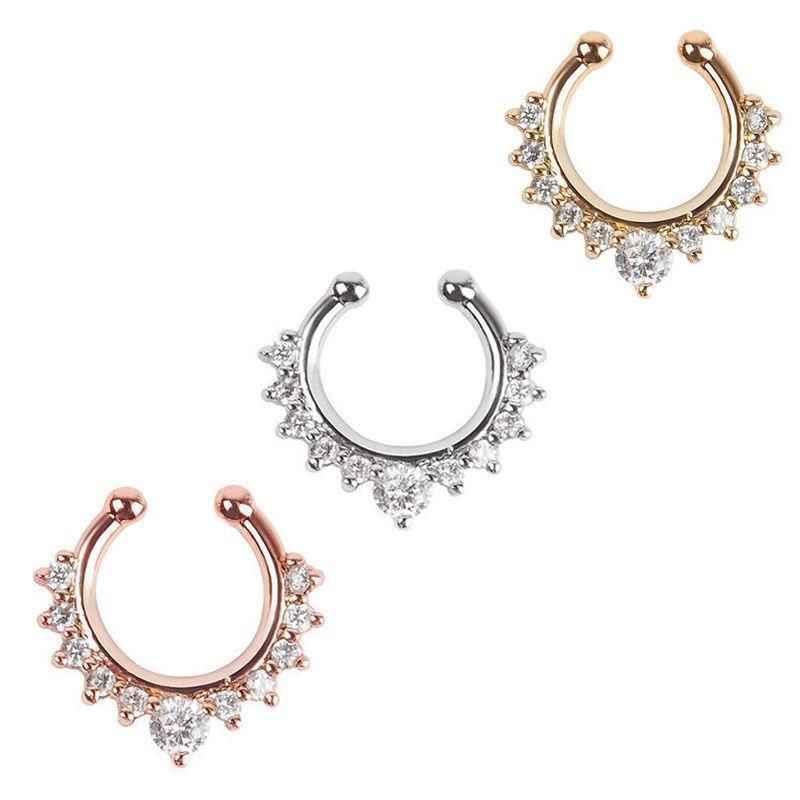 1 יחידות חדש אופנה קריסטל מזויף האף מחץ האף חישוק טבעת מזויף פירסינג קליפ על האף נשים תכשיטי אבזרים מתנת 3 צבעים