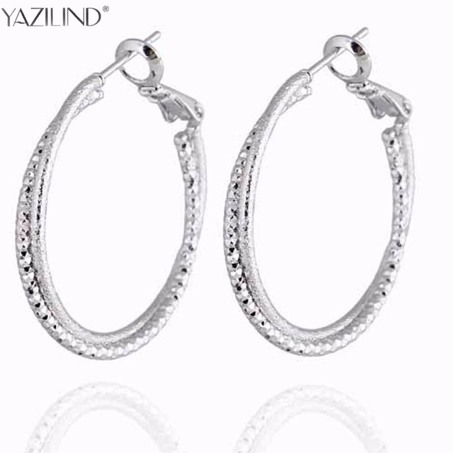 Yazilind New Double Circles Round Hoop Earrings For Women Rose Gold Silver Color Twisted Large