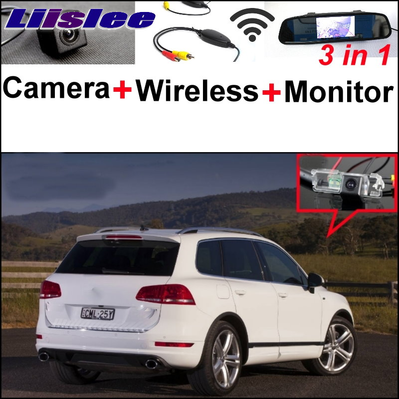 Liislee 3 in1 Special Rear View Camera + Wireless Receiver + Mirror Monitor Parking System For Volkswagen VW Touareg 2011~2014 liislee 3 in1 special rear view camera wireless receiver mirror monitor diy parking system for mazda cx 3 cx 3 cx3 2014 2017